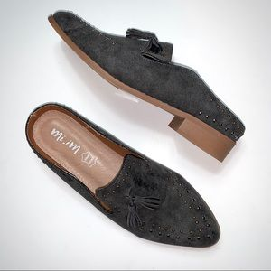 Mi.iM Gray Studded Loafer Mule Flats Size 8.5